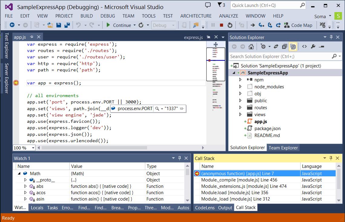 Node.js Tools for Visual Studio 1.0 Beta